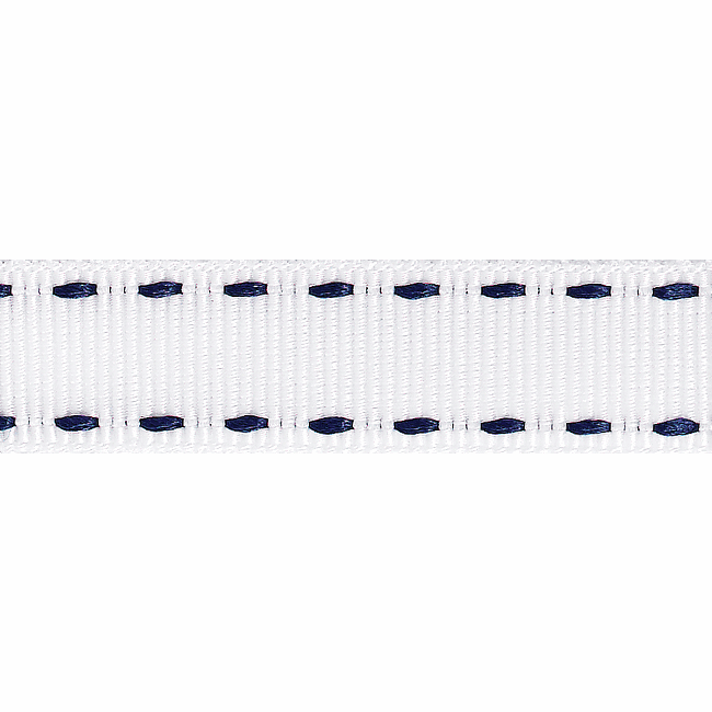Picture of Stitched Grosgrain: 4m x 15mm: White/Navy