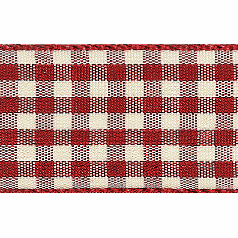 Picture of Natural Gingham: 3m x 25mm: Red