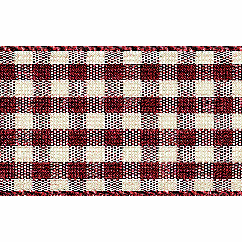 Picture of Natural Gingham: 3m x 25mm: Burgundy