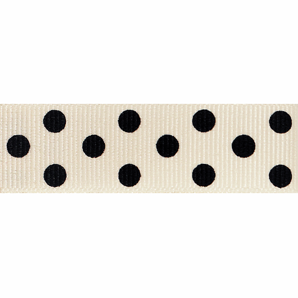 Picture of Spotty Grosgrain: 4m x 15mm: Natural/Black