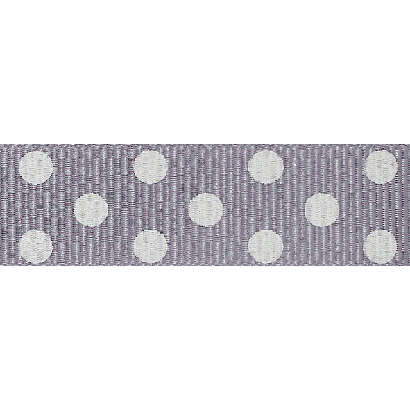 Picture of Spotty Grosgrain: 4m x 15mm: Grey/Ivory