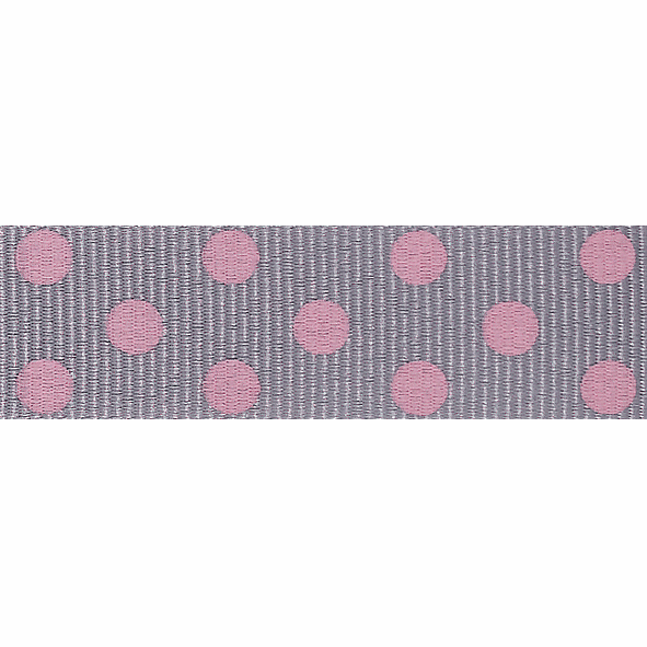 Picture of Spotty Grosgrain: 4m x 15mm: Grey/Pink