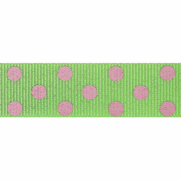 Picture of Spotty Grosgrain: 4m x 15mm: Green/Pink
