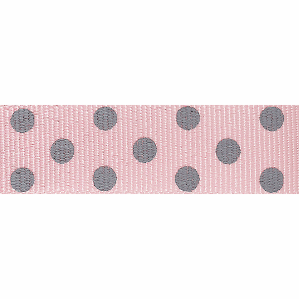 Picture of Spotty Grosgrain: 4m x 15mm: Pink/Grey