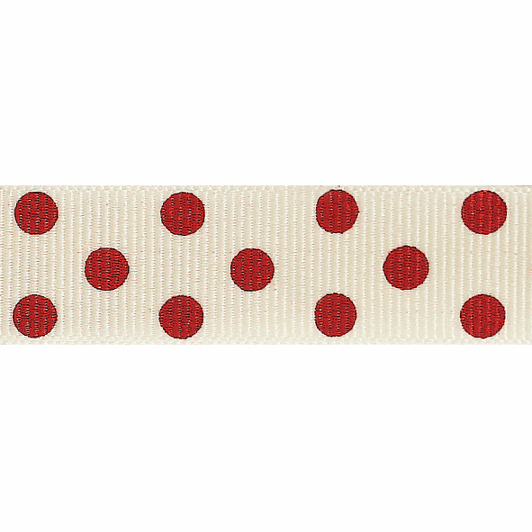 Picture of Spotty Grosgrain: 4m x 15mm: Natural/Red