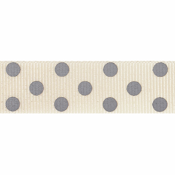 Picture of Spotty Grosgrain: 4m x 15mm: Natural/Grey