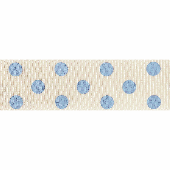 Picture of Spotty Grosgrain: 4m x 15mm: Natural/Sky