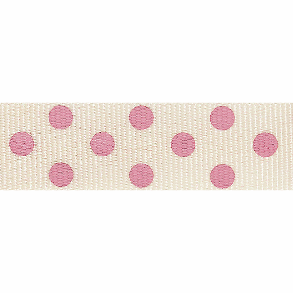 Picture of Spotty Grosgrain: 4m x 15mm: Natural/Pink