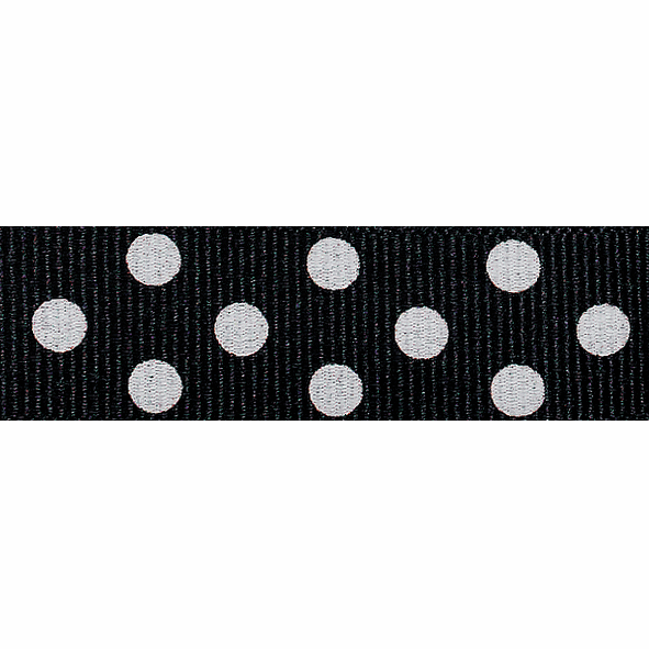 Picture of Spotty Grosgrain: 4m x 15mm: Black/Ivory