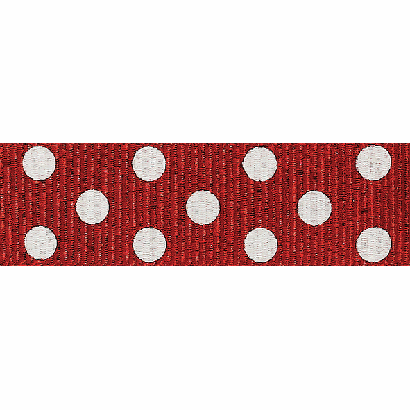 Picture of Spotty Grosgrain: 4m x 15mm: Red/Ivory