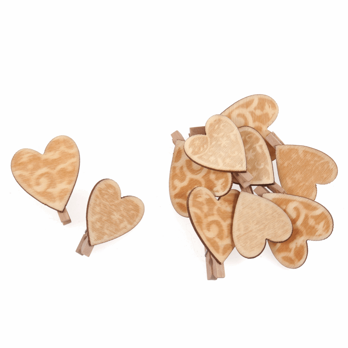 Picture of Pegs: Wooden: Heart: Natural: Pack of 10