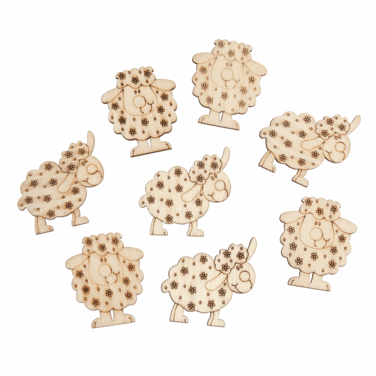 Picture of Craft Embellishments: Cartoon Sheep: Wooden: Pack of 8