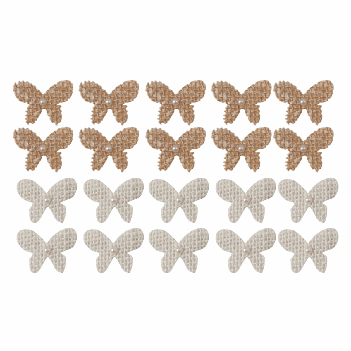 Picture of Craft Embellishments: Hessian Flower with Pearl: 3cm: Brown: Pack of 20
