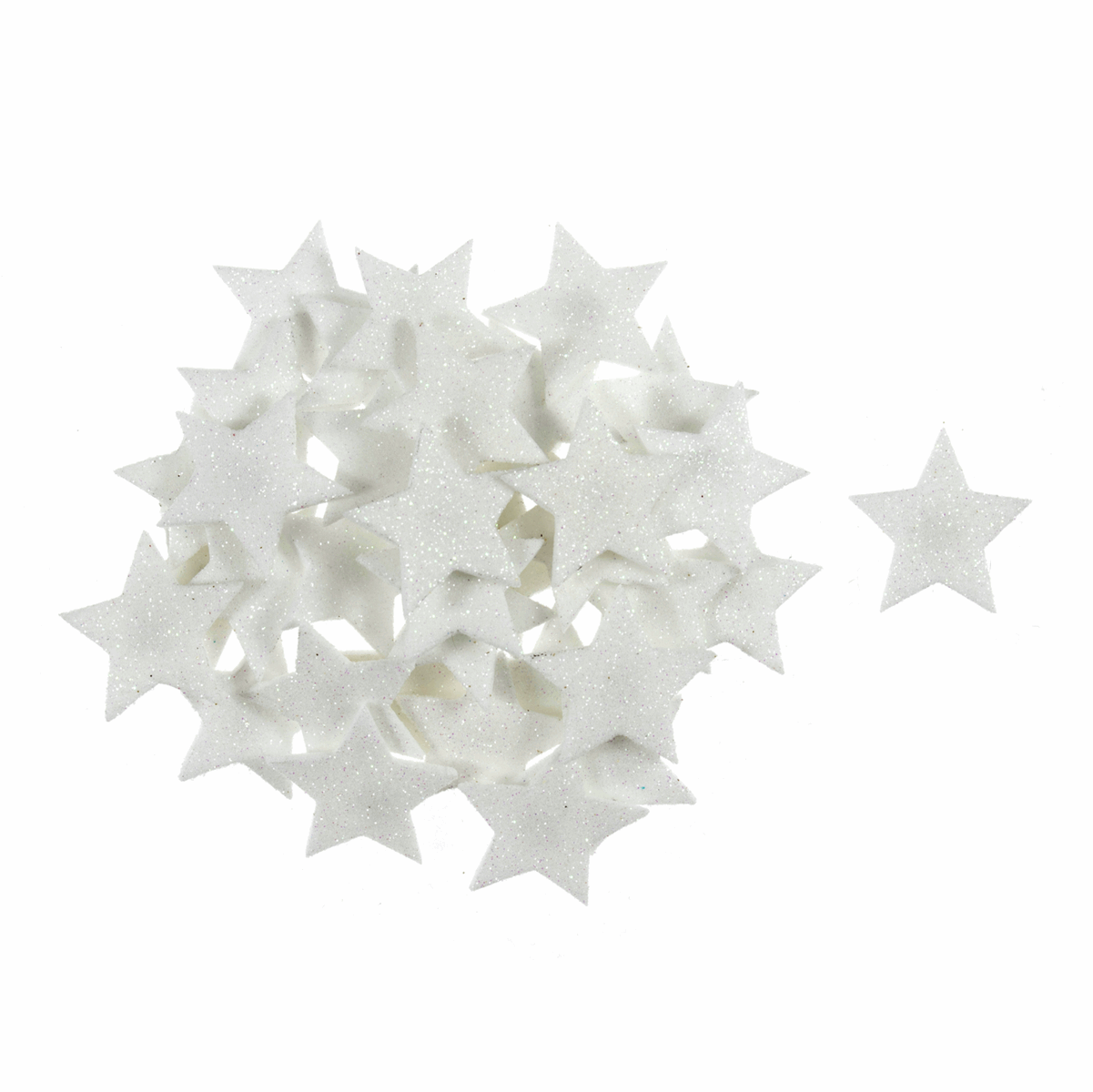 Picture of Craft Embellishments: Glitter Stars: White: 35 Pieces