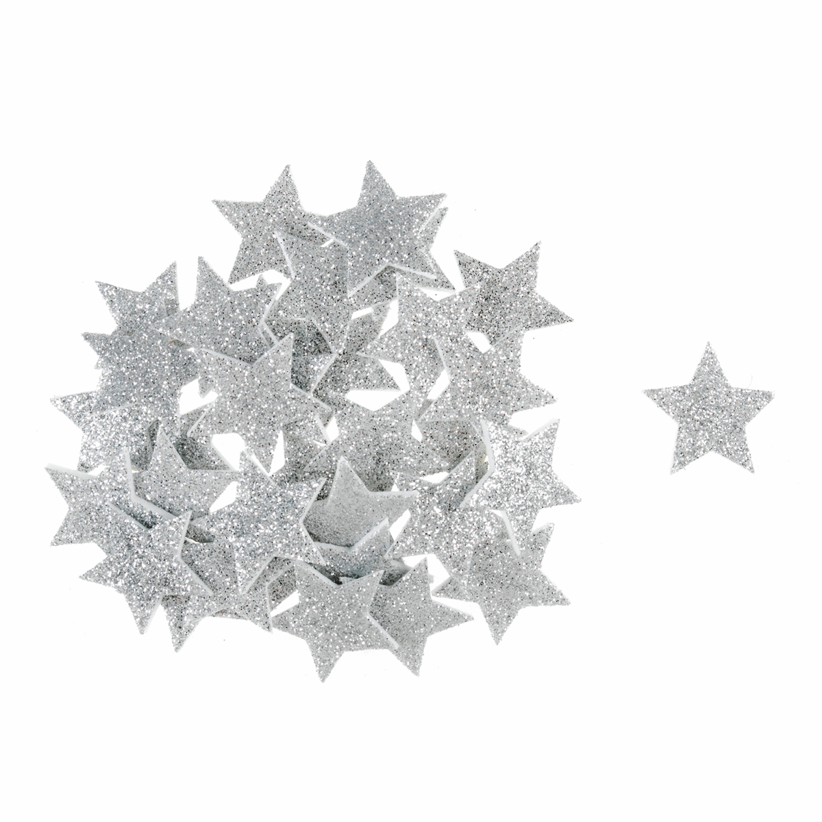Picture of Craft Embellishments: Glitter Stars: Silver: 35 Pieces