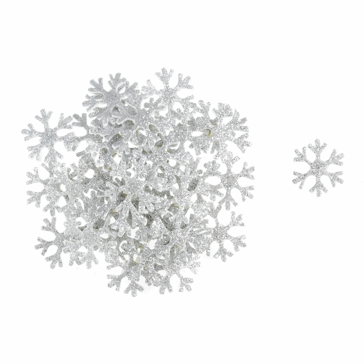 Picture of Craft Embellishments: Glitter Snowflakes: Silver: 35 Pieces