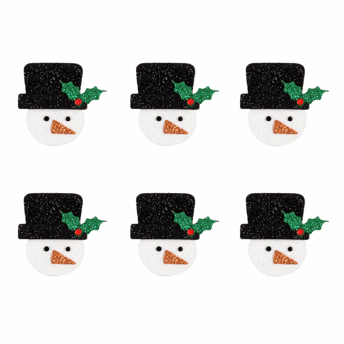 Picture of Craft Embellishments: Glitter Snowmen: 6 Pieces