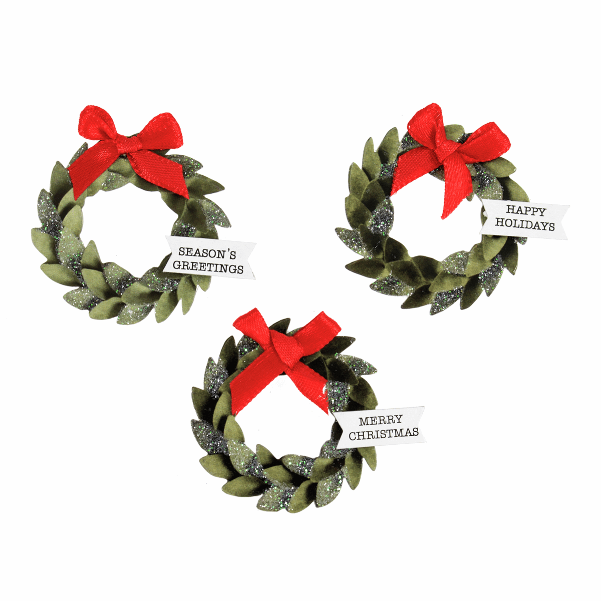 Picture of Craft Embellishments: Christmas Wreaths: 3 Pieces