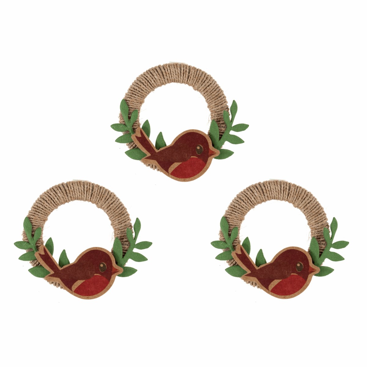 Picture of Craft Embellishments: Robin Jute Wreaths: 3 Pieces