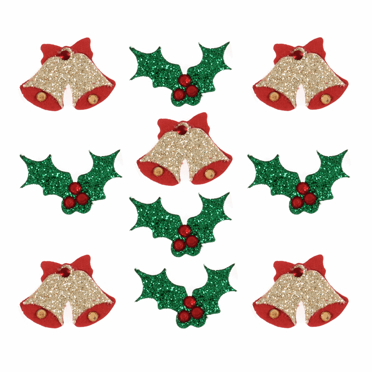 Picture of Craft Embellishments: Glitter Bells and Holly: 10 Pieces