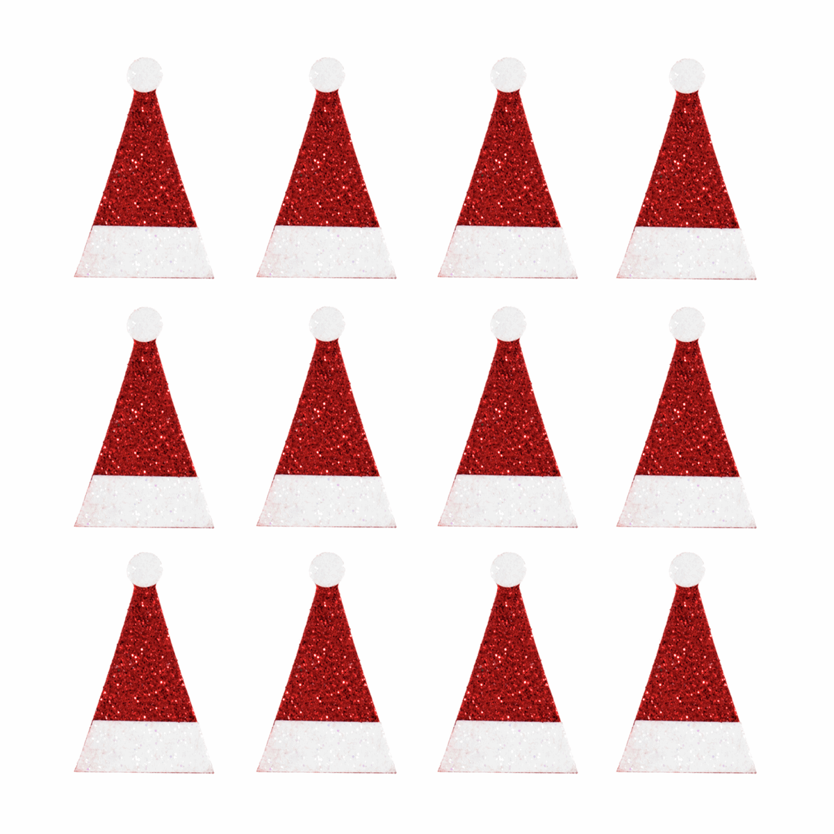 Picture of Craft Embellishments: Glitter Santa Hats: 12 Pieces