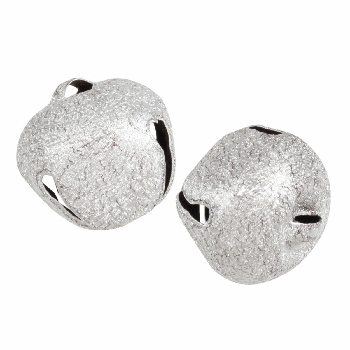 Picture of Bells: Jingle: 30mm: Frosted Silver: 2 Pieces