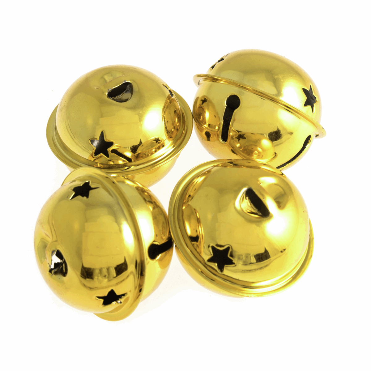 Picture of Bells: Jingle: Star: 40mm: 4 Pieces: Gold