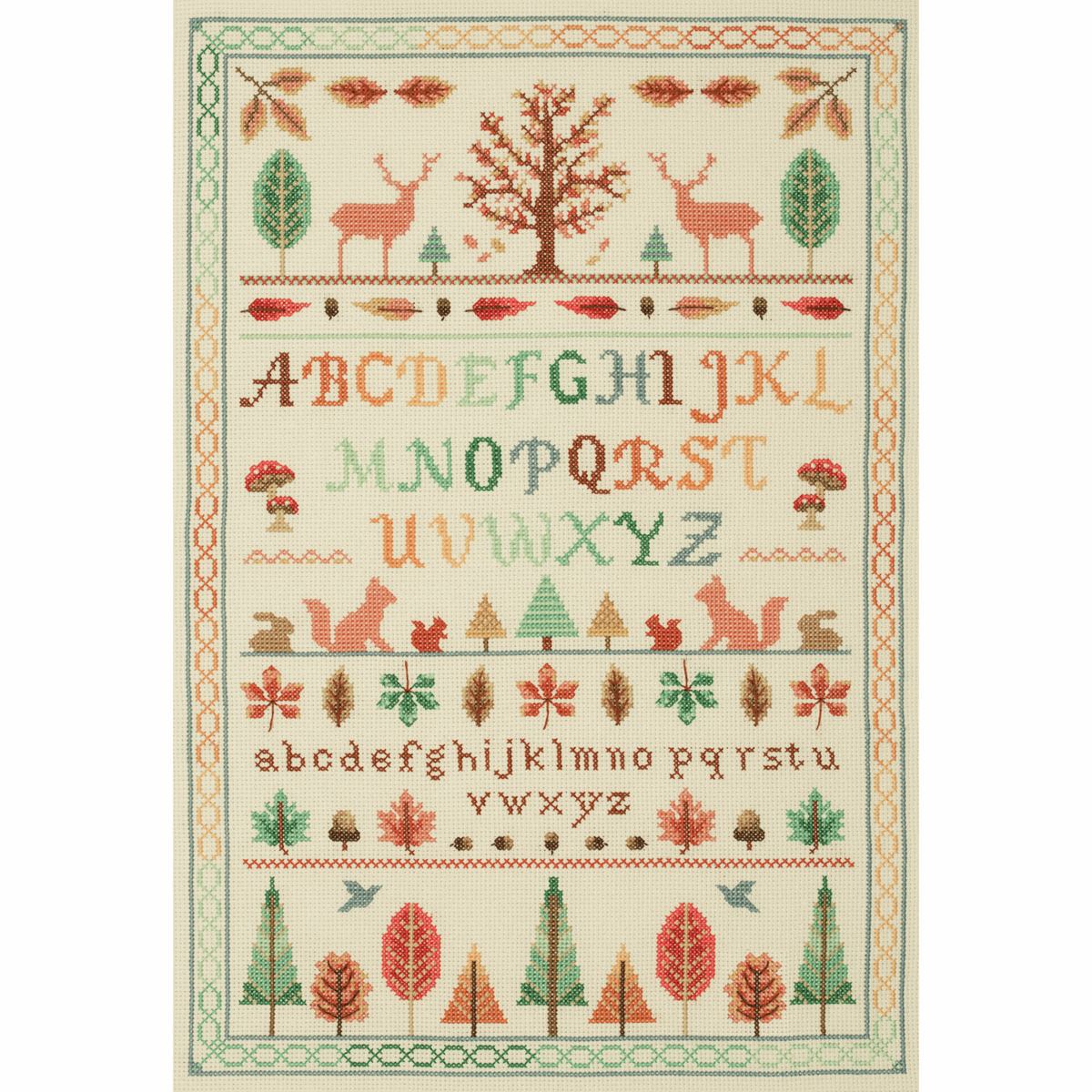 Picture of Counted Cross Stitch Kit: Alphabet Sampler: Autumn Forest
