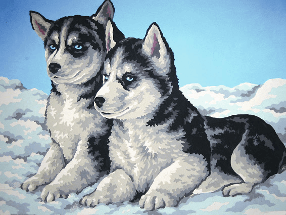 Picture of Printed Tapestry Canvas: Husky Puppies