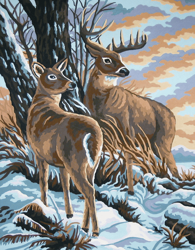 Picture of Printed Tapestry Canvas: Stag and Doe