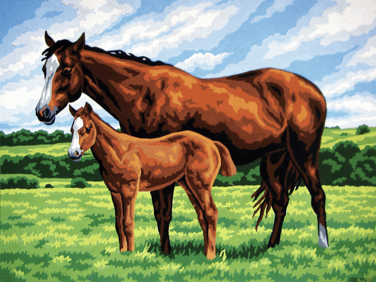 Picture of Printed Tapestry Canvas: Mare with Foal