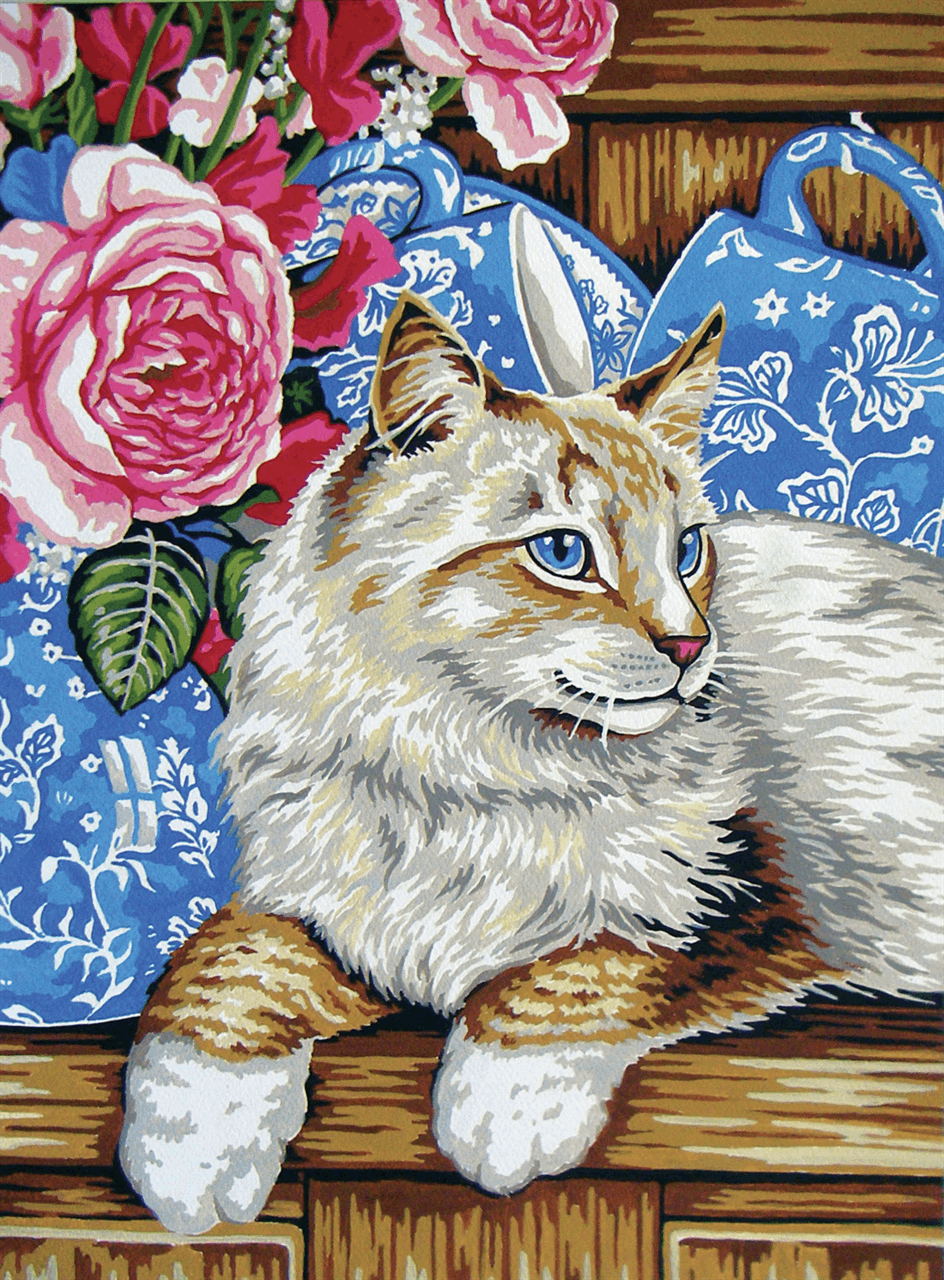 Picture of Printed Tapestry Canvas: Cat on the Shelf