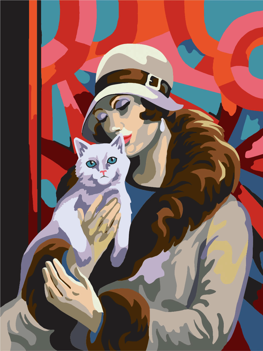 Picture of Printed Tapestry Canvas: Lady with Cat
