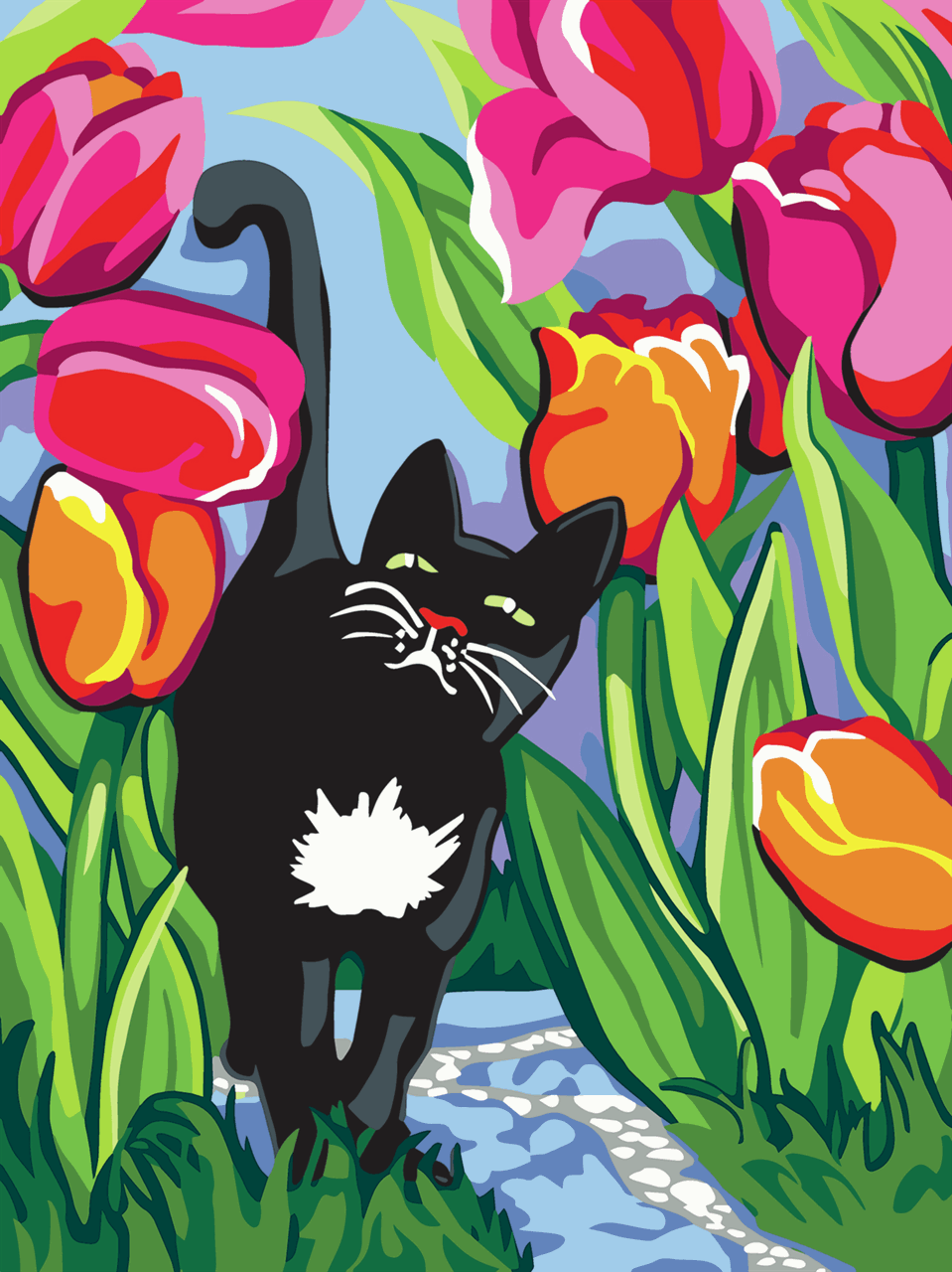 Picture of Printed Tapestry Canvas: Cat with Tulips