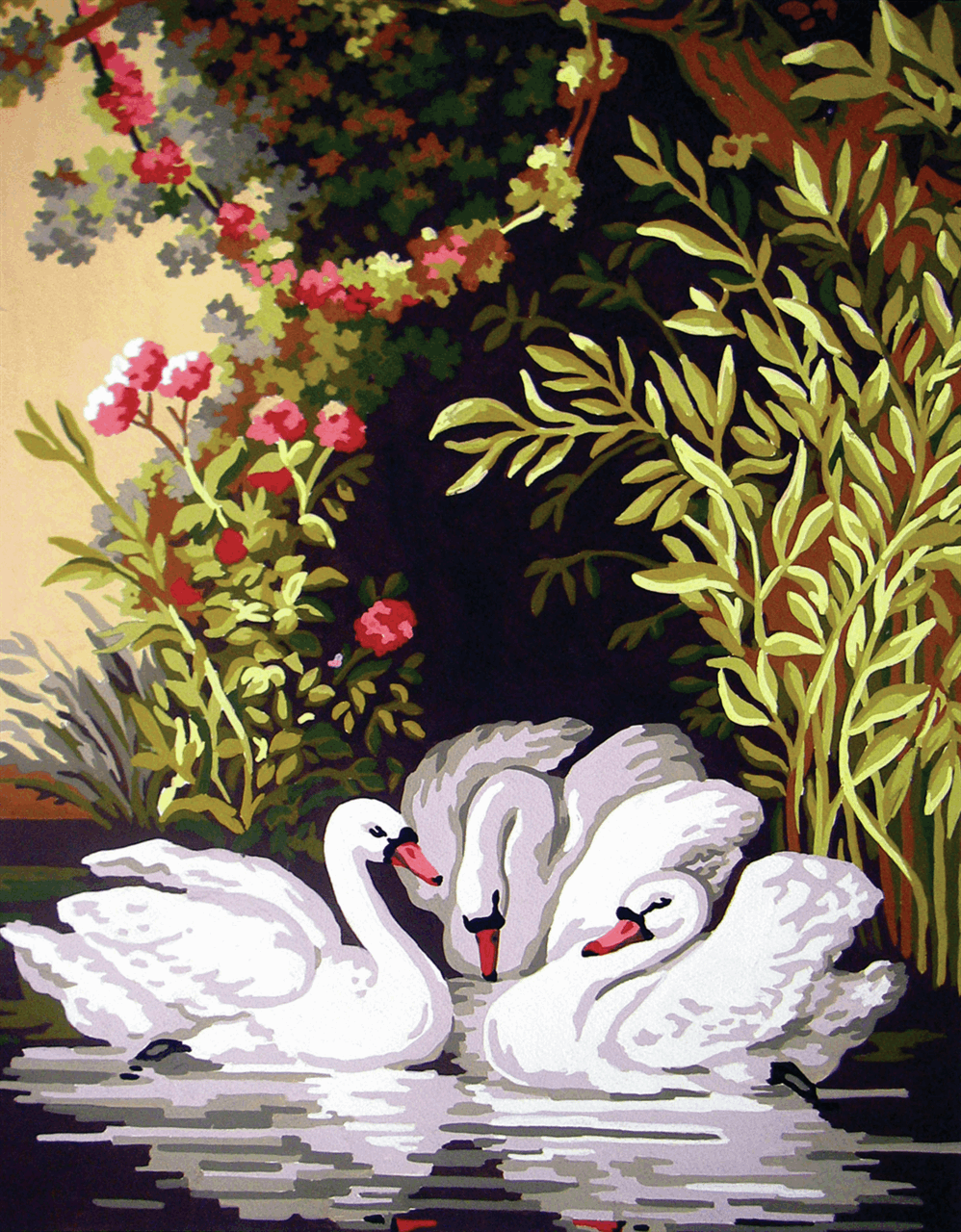 Picture of Printed Tapestry Canvas: Swans in the Shadows