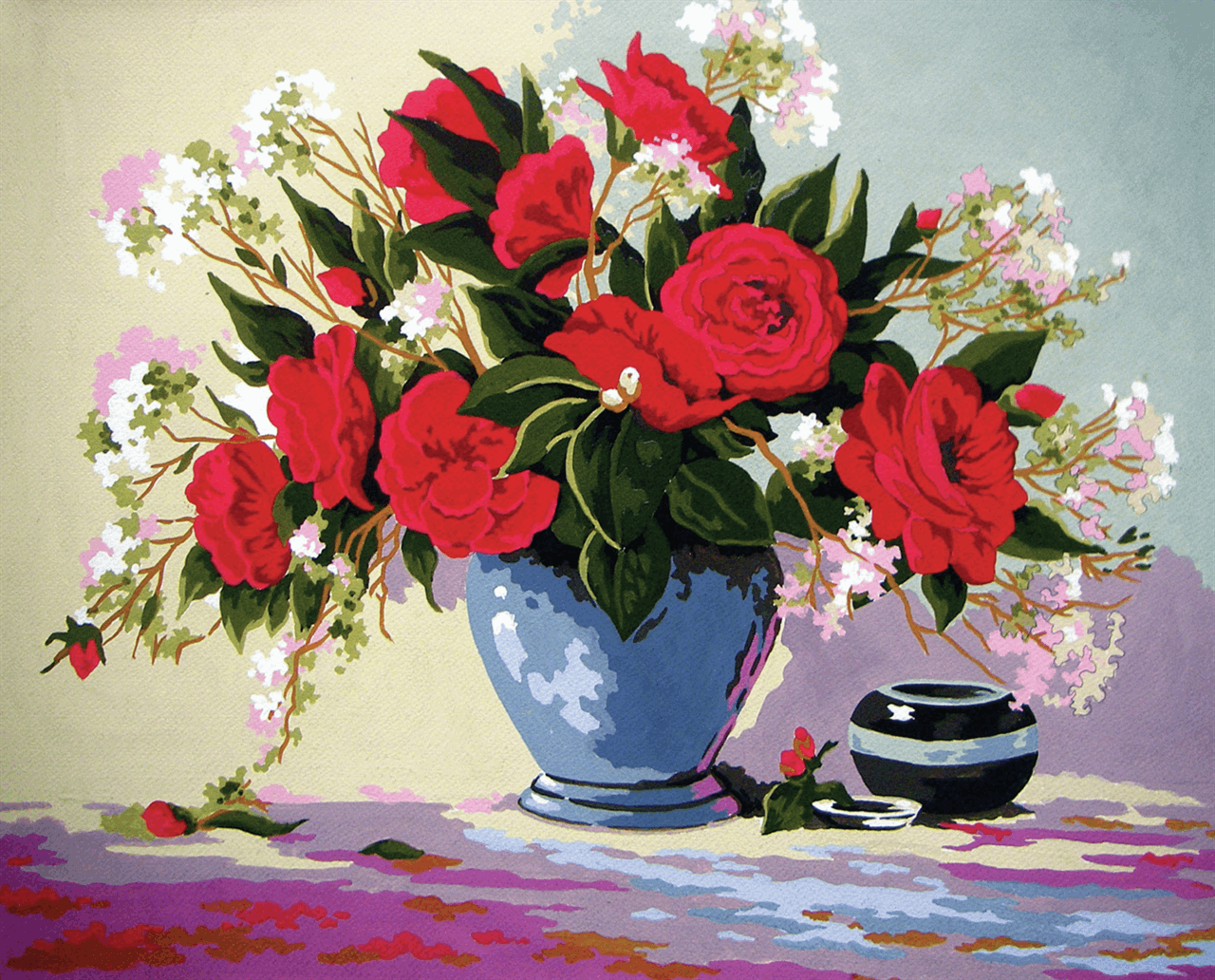 Picture of Printed Tapestry Canvas: Red Roses