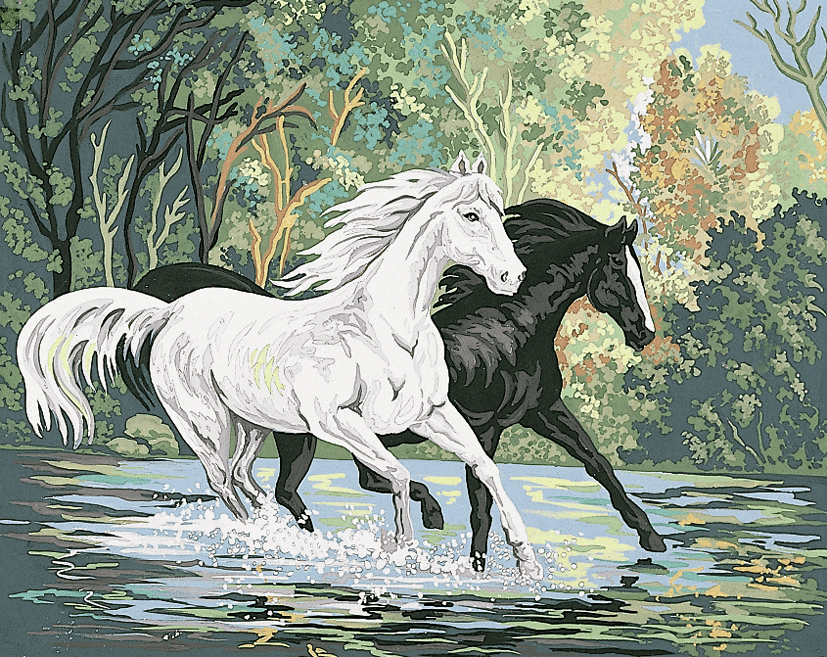 Picture of Printed Tapestry Canvas: Crossing the River