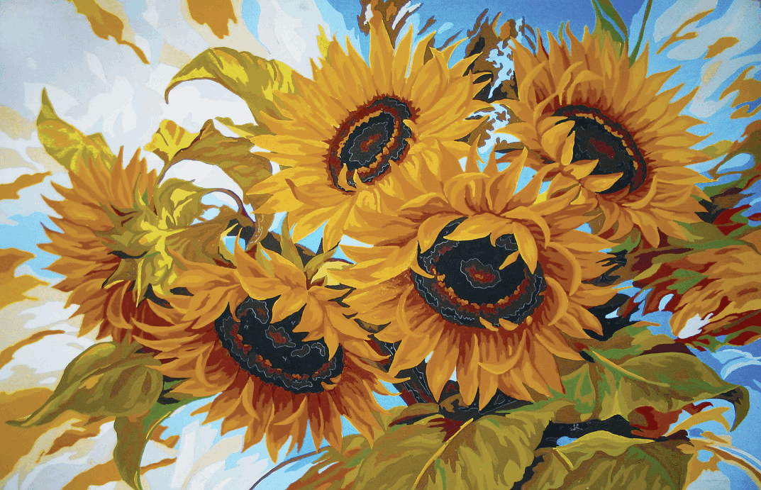 Picture of Printed Tapestry Canvas: Windswept Sunflowers