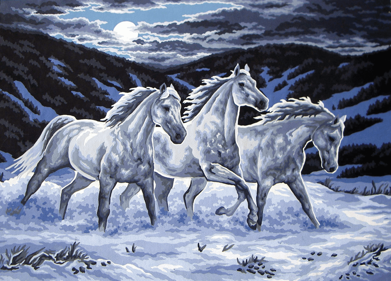 Picture of Printed Tapestry Canvas: Trio in the Moonlight