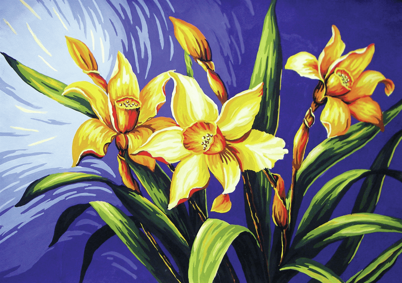 Picture of Printed Tapestry Canvas: Yellow Lilies