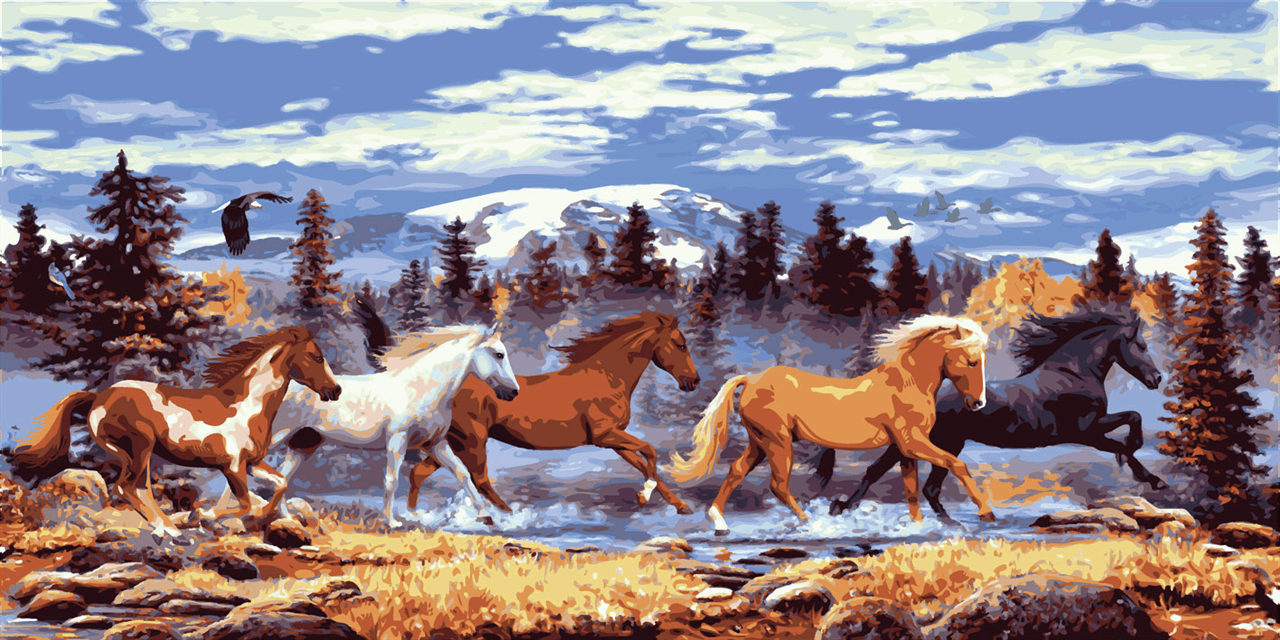 Picture of Printed Tapestry Canvas: Wild Horses