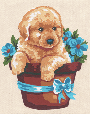 Picture of Printed Tapestry Canvas: Puppy in Flower Pot
