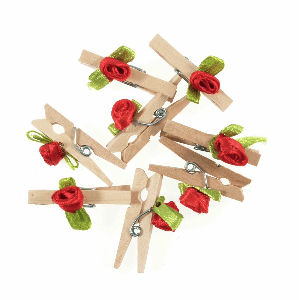 Picture of Pegs: Wooden: With Red Rose: Pack of 8