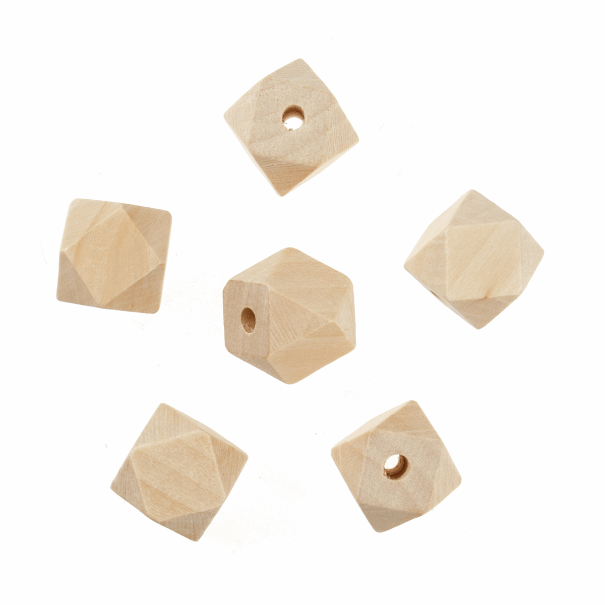 Picture of Wooden Beads: 20mm: 5mm Centre Hole: Geo Cut: 6 Pieces
