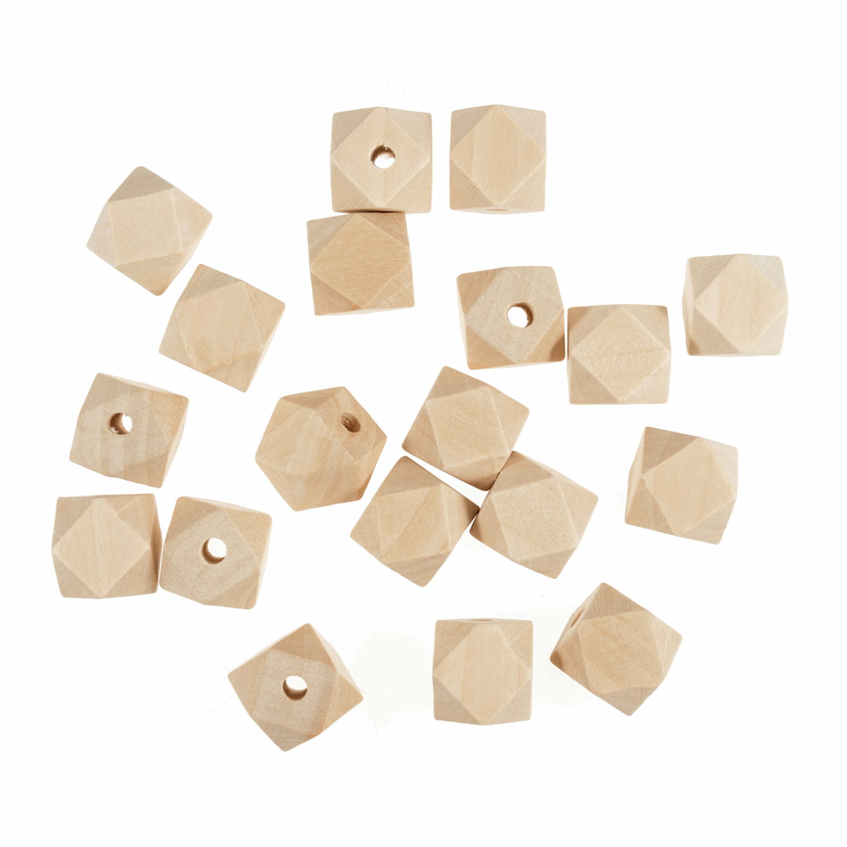 Picture of Wooden Beads: 20mm: 5mm Centre Hole: Geo Cut: 50 Pieces