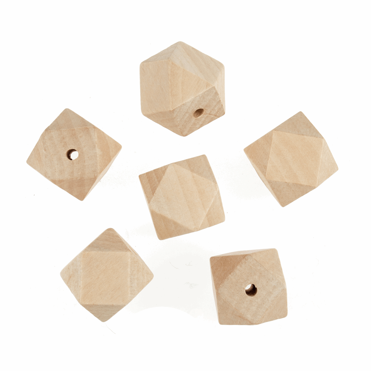 Picture of Wooden Beads: 30mm: 5mm Centre Hole: Geo Cut: 6 Pieces
