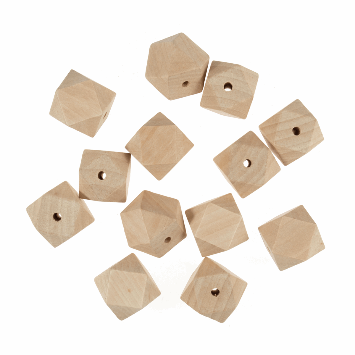Picture of Wooden Beads: 30mm: 5mm Centre Hole: Geo Cut: 50 Pieces