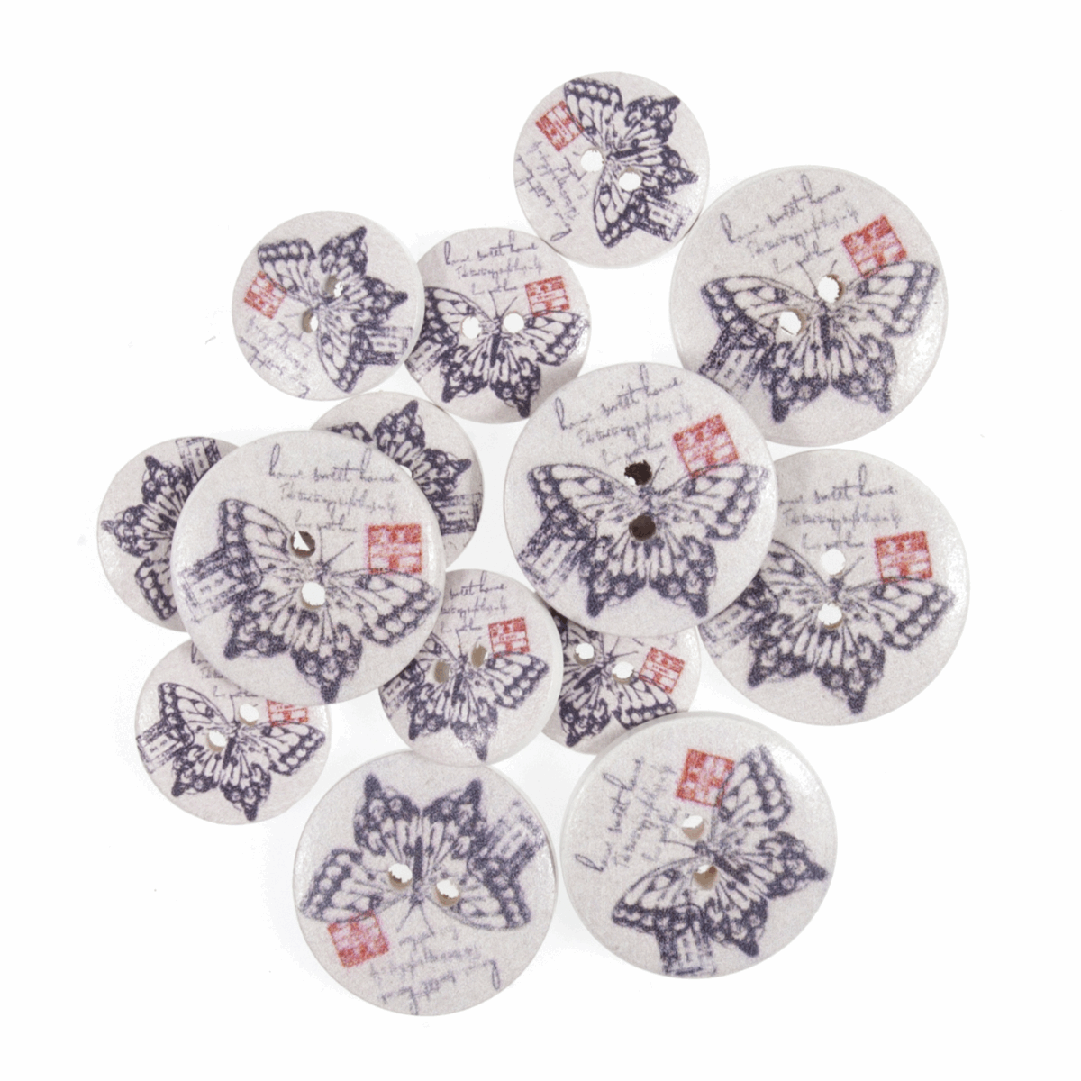 Picture of S&W Craft Buttons: Assorted Sizes: Pack of 15
