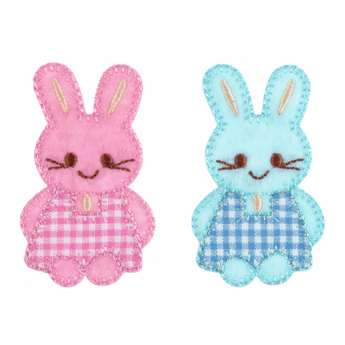 Picture of Motif C: Pink & Blue Checked Bunnies