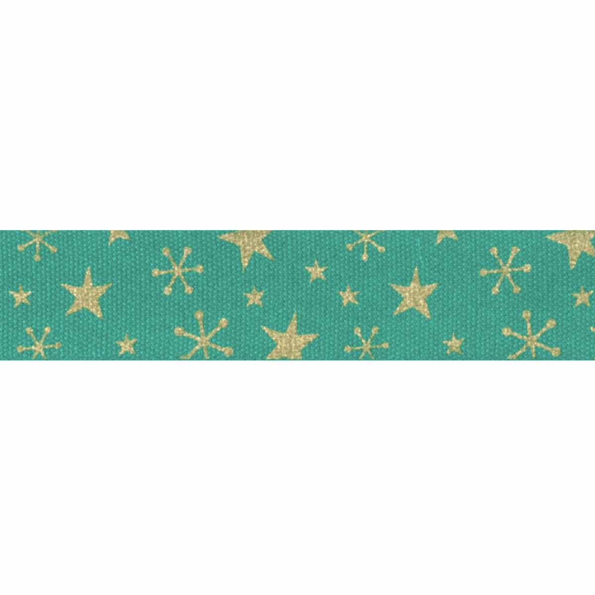 Picture of Bowtique Christmas: Metallic Gold Stars: Green: 25m x 15mm
